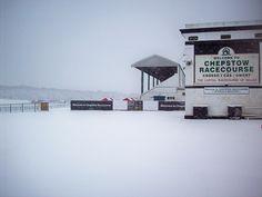 A snowbound Chepstow Racecourse.