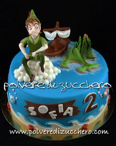 Peter Pan cake - Cake by Paola Cupcake Birthday Cake, Cupcake Cakes, Cupcakes, Peter Pan Cakes, Fondant, Movie Cakes, Peter Pan Party, Tinkerbell And Friends, Character Cakes
