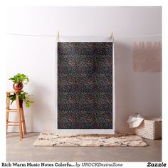 Rich Warm #Music Notes Colorful Black #Fabric