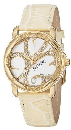 Stuhrling Original Women's 138.123S2 Vogue Audrey Isis Swiss Quartz Swarovski Crystal Date Gold Tone Watch