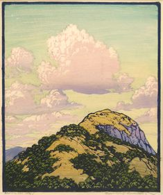 """Frances Gearhart, """"Above the Trail, 1929, color woodcut, 12 x 10"""" Image courtesy of Catherine E. Burns Fine Art Prints"""
