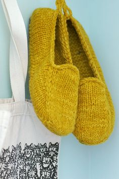 Malabrigo Loafers. Really like these! I want to knit some for my husband. Color is fun too.   #knitting #slippers
