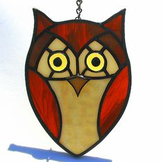Stained Glass Eastern Screech Owl Ornament by livingglassart home of oddballs and oddities, via Flickr
