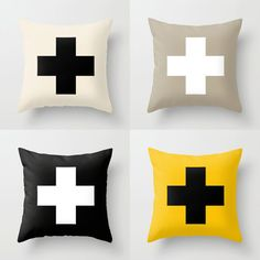 FREE SHIPPING Pillow Covers  Swiss Cross Plus by PillowsByElissa, $32.00  FREE SHIPPING available! decorative pillow summer accent pillow home decor moder geometric original design los angeles paris travel throw pillow black and white pillow spring springtime pastel sale swiss cross abstract art artsy etsy diy homemade black white taupe grey yellow blue pink mint aqua light soft green