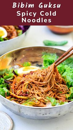Bibim guksu is a cold noodle dish with fresh vegetables served in a spicy, sweet and tangy gochujang sauce. Easy, refreshing and delicious! Japanese Cold Noodles Recipe, Japanese Noodle Dish, Japanese Food, Asian Noodle Recipes, Korean Recipes, Potluck Recipes, Summer Recipes, Healthy Recipes, Korean Rice