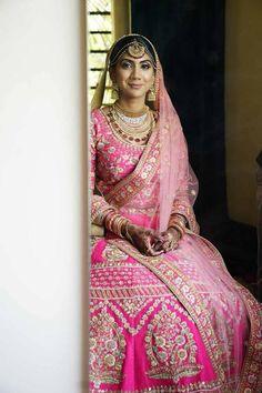 Chandni Chowk Lehenga Shops. Love this bright pink bridal lehenga set. Click on image for more bridal lehenga pictures. #Frugal2Fab