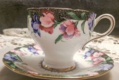 Double Warrant Paragon Sweet Pea Tea Cup and by WheeBoutique