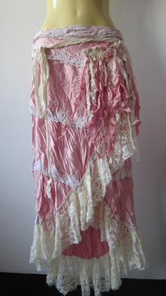gorgeous pink satin and lace vintage inspired gypsy skirt/dress