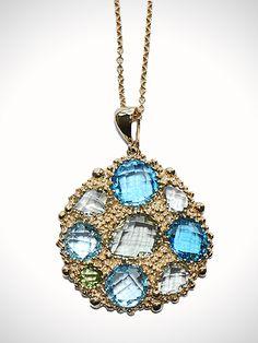 Bouquet Pendant Necklace- Blue Topaz.