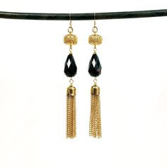 Vintage filigree stone tassel duster earrings - more colors available | TOODLEBUNNY