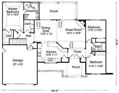 Craftsman Style House Plan - 3 Beds 2 Baths 1651 Sq/Ft Plan #46-107 Floor Plan - Main Floor Plan - Houseplans.com