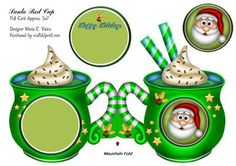 Santa Green Full Quick Card on Craftsuprint designed by Maria Christina Vieira  - A bright and colorful quick card Santa cup for those who are looking for Approx.5x7 foldedLabel,Happy Holidays - Now available for download!