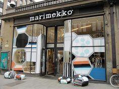 Window installation by designer Jenni Tuominen with Marimekko.  Marimekko store Aleksinkulma, Aleksanterinkatu 50, Helsinki Finland