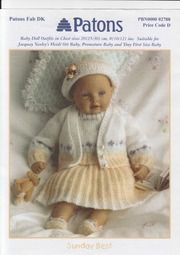 Patons 2788 Sunday Best for Baby or Doll Baby Cardigan Knitting Pattern Free, Baby Knitting Patterns, Baby Patterns, Free Knitting, Knitting Ideas, Knitting Toys, Knitted Doll Patterns, Knitted Dolls, Knitted Baby
