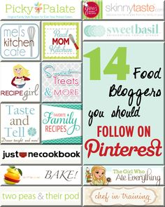 14 Food Blogs to Follow on Pinterest- they all have an eye for pinning some delicious things!!