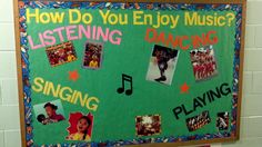I used this for Music in Our Schools Month . ( overview of what takes place in ARTS ed) Preschool Music, Teaching Music, Preschool Bulletin, Teaching Resources, Music Bulletin Boards, Music Classroom, Classroom Decor, Elementary Music, Elementary Library
