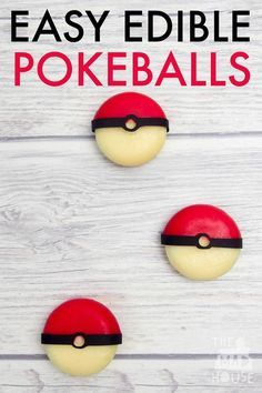 Easy Edible Pokeballs.  Join in with Pokemon fever with these easy edible Pokeballs.  They are a healthy snack perfect for a Pokemon party or a pokeball themed lunchbox