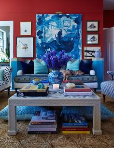 Shades of blue with a splash of red
