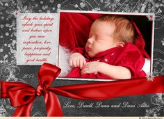 Red & Gray Sweet Baby Holiday Photo Christmas Celebration Card Design