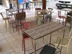 Mesas y sillas e forja y ceramica de www.fustaiferro.com #diseño #decoracion #interiorismo #arquitectura #fustaiferro #hosteleria