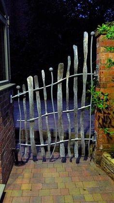 Seriously gorgeous, bespoke garden gates by David Freedman, an artist blacksmit. Seriously gorgeous, bespoke garden gates by David Freedman, an arti Metal Garden Gates, Metal Gates, Iron Gates, Metal Fences, Gazebos, Arbors, Forging Metal, Fence Gate, Fencing