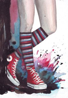 Original watercolor painting of Red Converse All Stars by HelgaMcL