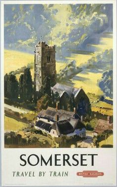 Railway Travel Poster produced for British Railways BR Western Region WR promoting rail travel to the county of Somerset showing a thatched cottage Posters Uk, Train Posters, Railway Posters, Retro Posters, British Travel, National Railway Museum, Kunst Poster, Vintage Travel Posters, Vintage Ski
