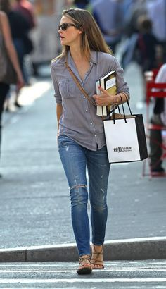 love the shirt. i don't like ripped jeans, but the fit of the jeans with the flowy shirt is great.