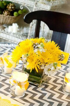 Kara& Party Ideas You are my Sunshine Summer Gender Neutral Baby Shower Planning Ideas Baby Shower Decorations For Boys, Baby Shower Centerpieces, Baby Decor, Baby Shower Themes, Shower Ideas, Yellow Centerpieces, Sunflower Centerpieces, Baby Shower Yellow, Gender Neutral Baby Shower