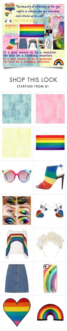 """""""pride month✨🌈"""" by olivia204 ❤ liked on Polyvore featuring Designers Guild, York Wallcoverings, MCM, Aquazzura, Marc Jacobs, Lizzie Fortunato, Miu Miu, Casetify, Forever 21 and pride"""