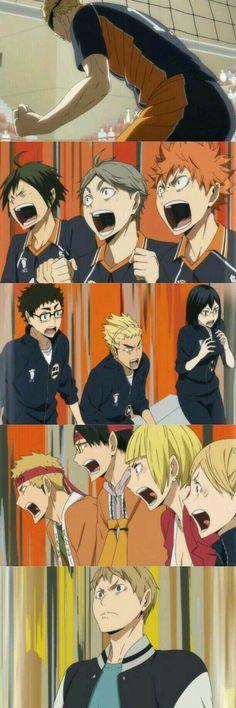 Haikyuu episode 4 season 3 tsukishima block reaction BEST EPISODE EVAH<<<Akiteru looks so proud of his lil bro Haikyuu Tsukishima, Haikyuu Funny, Haikyuu Fanart, Nishinoya, Kageyama, Kuroo, Hinata, Haikyuu Volleyball, Anime Meme