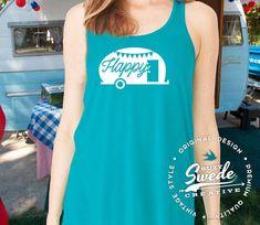 Happy Camper Ladies' Flowy Racerback Tank by SuzySwedeCreative