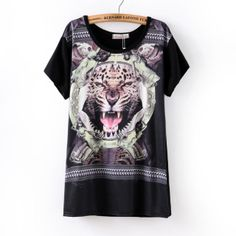 Spring Summer 2014 New Fashion Women Clothes Casual Dress T-shirt Short Sleeve  Punk Tiger Print  Black White #2486 £5.90