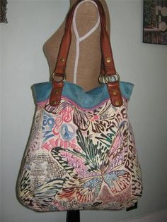 Lucky Brand Trippin Out Leather Canvas XL Hobo Bag Purse Tote Handbag | eBay
