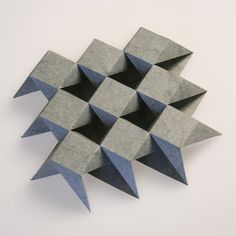 This is a closed-bottom twisted-top tessellation from the family that Ron Resch introduced and described in his US patent folded from a single uncut sheet of laser-scored Wyndstone Marble. Useful Origami, Diy Origami, Tesselations, Paper Folding, Folding Stool, Origami Paper Art, Arts And Crafts, Paper Crafts, Modular Origami