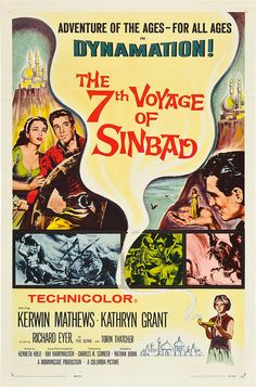 The Voyage Of Sinbad Us Poster Top Left From Left: Kathryn Grant Kerwin Mathews Right: Kerwin Mathews Bottom Right: Richard Eyer 1958 Movie Poster Masterprint Fantasy Movies, Sci Fi Movies, Old Movies, Vintage Movies, Great Movies, Fiction Movies, Awesome Movies, Internet Movies, Adventure Movies