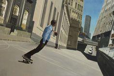 "Saatchi Online Artist: Matthew Carter; Oil, Painting ""Skateboarder"""