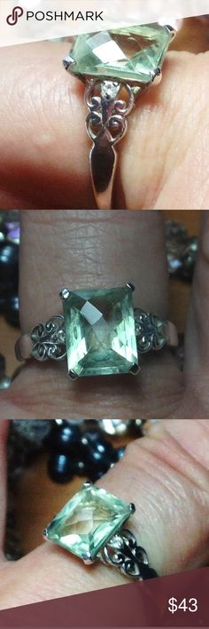 GENUINE Emerald Checkerboard Emerald .925 Ring 10 SIZE 10 - most gals with ring finger size 8 have a size 10 middle finger )             Used but tons of wear still left I. It--- a 7 carat (fancy faceted checkerboard emerald cut )                      _Genuine Green Amethyst + (2) Genuine white DIAMOND accent .925 Nickel Free Sterling Silver setting w/scrolls and pretty silversmith designing- MSRP $169.99 here $43.00  - please check my other listings including rare, difficult to find and…