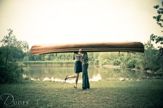 Engagement Photography - Couple with canoe