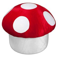 "Upholstered Mushroom Ottoman ""Mushroom Ottoman is handmade from ultra-soft velvet microfiber, making it a super cushy place to perch. Surprisingly sturdy, the seat is great for a kid& bedroom or the nursery, too. Make room for the mushroom."" So awesome. Ottoman Furniture, Upholstered Ottoman, Mario Room, Kids Bedroom, Bedroom Ideas, Kids Playing, Playroom, Cool Stuff, Awesome"