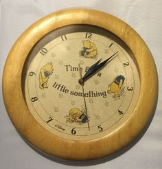 """Disney Winnie The Pooh 12"""" Round Wood Wall Clock """"Time for A Little Something"""" 