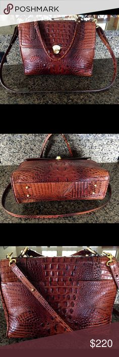 """🌹🌹BRAHMIN PECAN MELBOURNE LARGE SATCHEL W/STRAP Brahmin Rich PECAN LARGE SATCHEL   (Plenty of room for your ipad and much more)  EXCELLENT CONDITION, GENTLY CARRIED, NO WEAR OR STAINS/MARKS.  Turn lock closure   Top handle plus removable strap  Back slip pocket  Bottom protective feet.   Interior is clean and spacious lined w/Brahmin's signature suede-like lining.   Has 2 collared slip pockets, 2 zipper compartments, key clip and pen loops  21"""" strap drop, will adjust approx 4"""" longer  8""""…"""