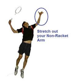Jumping to perform the Badminton Jump Smash