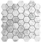 """Greeted Carrara is amazing and not too expensive either... :). Carrara (Carrera) Bianco Polished 2"""" Hexagon Marble Mosaic Tile"""