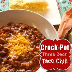 Crock-Pot Three Bean Taco Chili via CrockPotLadies.com