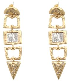 GOLD SAFI DANGLING EARRINGS WITH VS COINS AND BD CRYSTALS