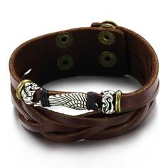 Aliexpress.com: Comprar Joyería Retro Doble Hebilla Personalizada Tejida Wing Pulsera de Los Hombres Pulsera De Cuero de bracelet brooch fiable proveedores en WYZOZJ Store