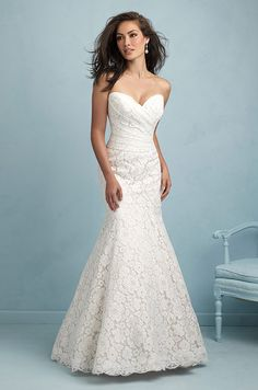 Strapless lace wedding dress by Allure, 2015