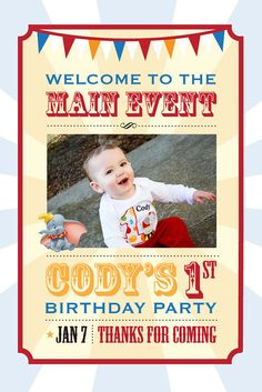 20x30 Dumbo Circus Birthday Poster, Personalized - PRINTABLE Digital File. $6.00, via Etsy.