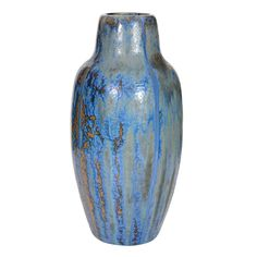 uploading French Art Nouveau Ceramic Vase by Pierrefonds  France  1900  Fantastic crystalline glazed ceramic vase in tones of blue, tan and brown by renowned french ceramic firm Pierrefonds.